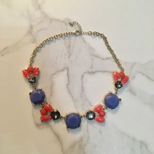 EUC Statement Necklace, Coral and Blue